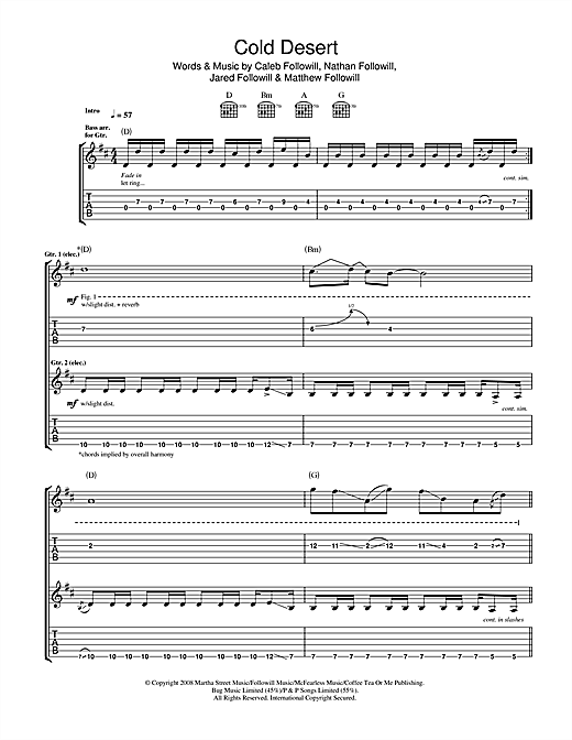 Kings Of Leon Cold Desert sheet music notes and chords. Download Printable PDF.