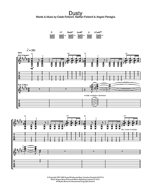 Kings Of Leon Dusty sheet music notes and chords. Download Printable PDF.