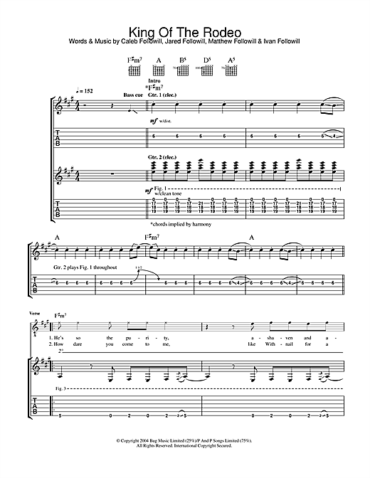 Kings Of Leon King Of The Rodeo sheet music notes and chords. Download Printable PDF.