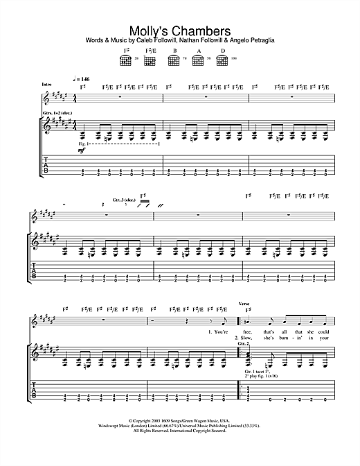 Kings Of Leon Molly's Chambers sheet music notes and chords. Download Printable PDF.