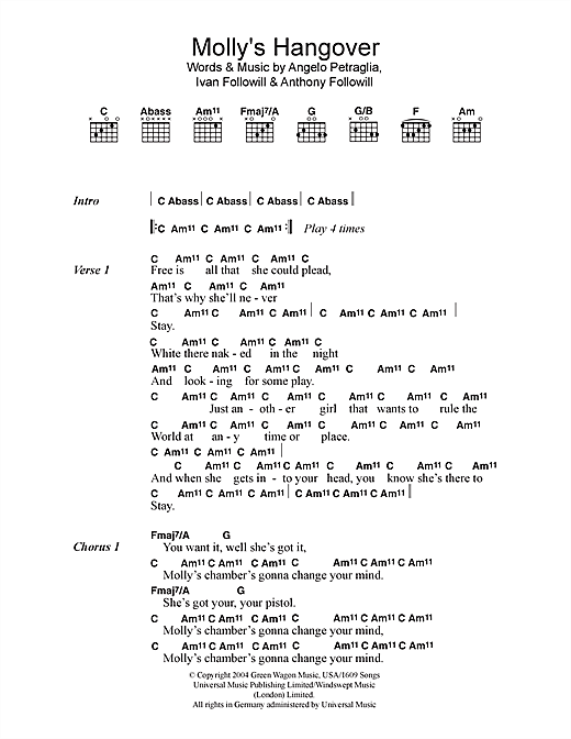 Kings Of Leon Molly's Hangover sheet music notes and chords. Download Printable PDF.