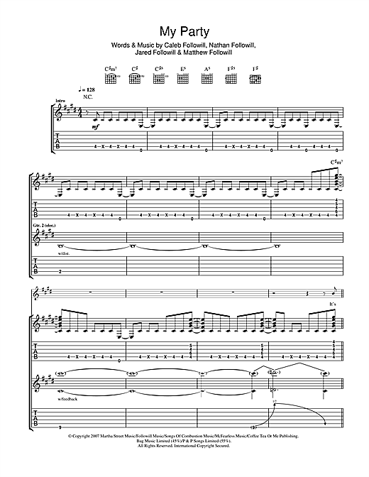 Kings Of Leon My Party sheet music notes and chords. Download Printable PDF.