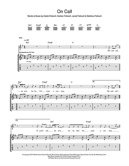 Kings Of Leon On Call sheet music notes and chords