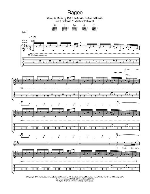 Kings Of Leon Ragoo sheet music notes and chords. Download Printable PDF.