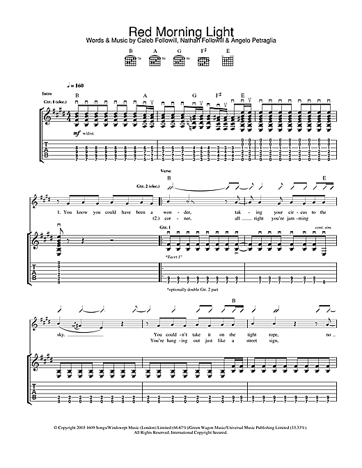 Kings Of Leon Red Morning Light sheet music notes and chords. Download Printable PDF.