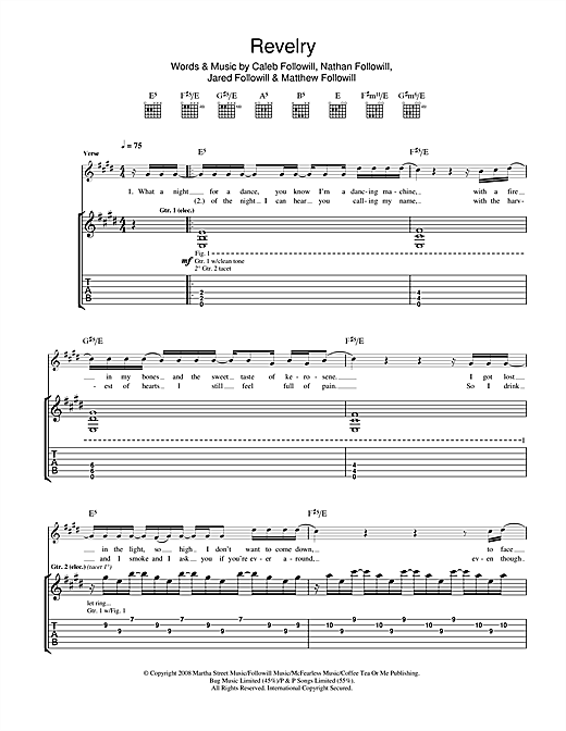 Kings Of Leon Revelry sheet music notes and chords. Download Printable PDF.