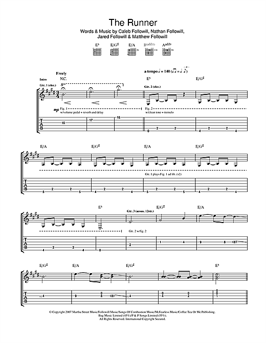 Kings Of Leon The Runner sheet music notes and chords. Download Printable PDF.