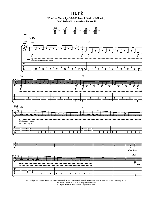 Kings Of Leon Trunk sheet music notes and chords. Download Printable PDF.