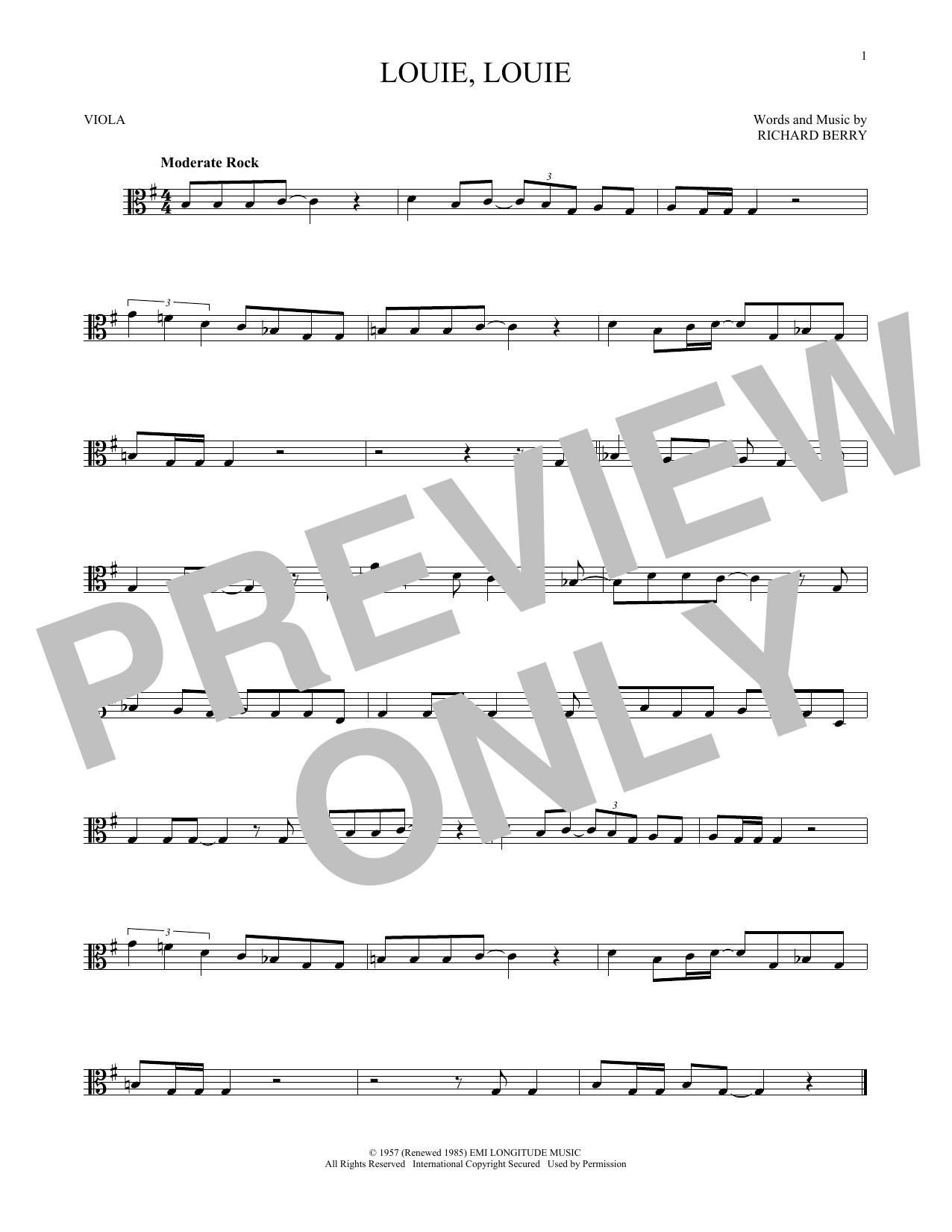 Kingsmen Louie, Louie sheet music notes and chords. Download Printable PDF.
