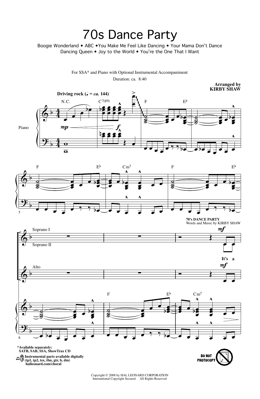 Kirby Shaw 70s Dance Party (Medley) sheet music notes and chords. Download Printable PDF.