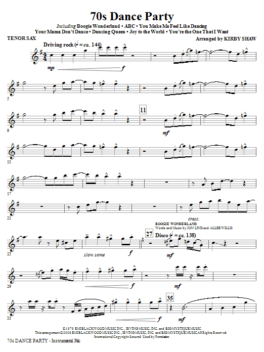 Kirby Shaw 70s Dance Party (Medley) - Tenor Sax sheet music notes and chords. Download Printable PDF.