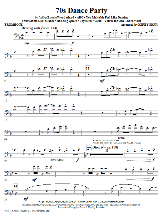 Kirby Shaw 70s Dance Party (Medley) - Trombone sheet music notes and chords. Download Printable PDF.