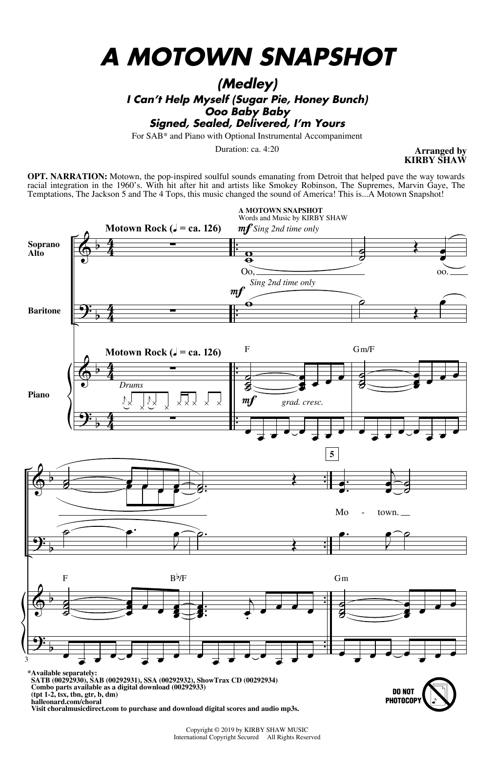 Kirby Shaw A Motown Snapshot (Medley) sheet music notes and chords. Download Printable PDF.