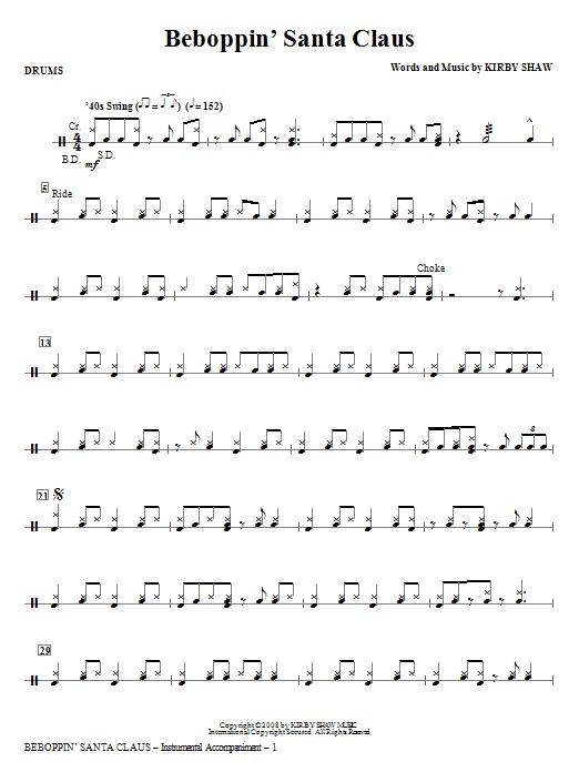 Kirby Shaw Beboppin' Santa Claus - Drums sheet music notes and chords. Download Printable PDF.