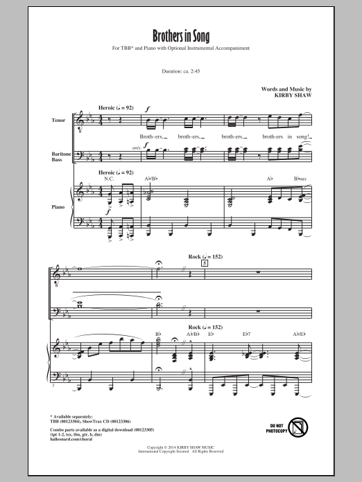 Kirby Shaw Brothers In Song sheet music notes and chords. Download Printable PDF.
