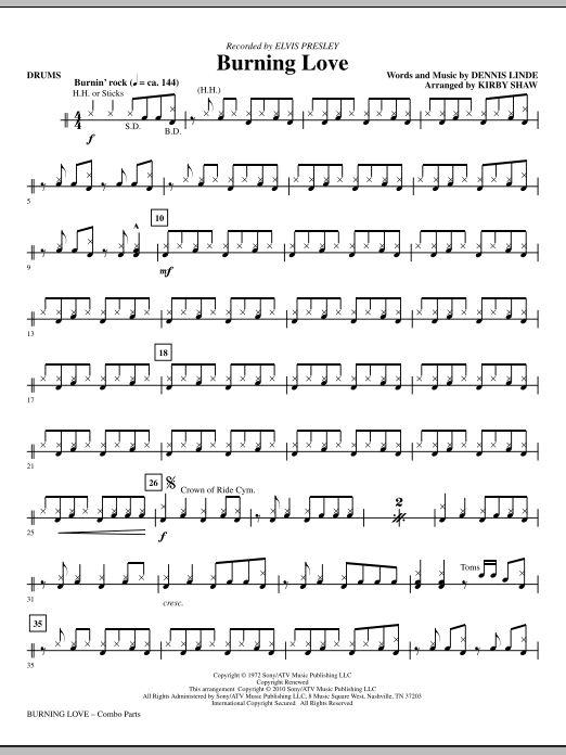 Kirby Shaw Burning Love - Drums sheet music notes and chords. Download Printable PDF.