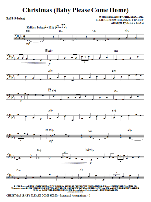 Kirby Shaw Christmas (Baby Please Come Home) - Bass sheet music notes and chords. Download Printable PDF.