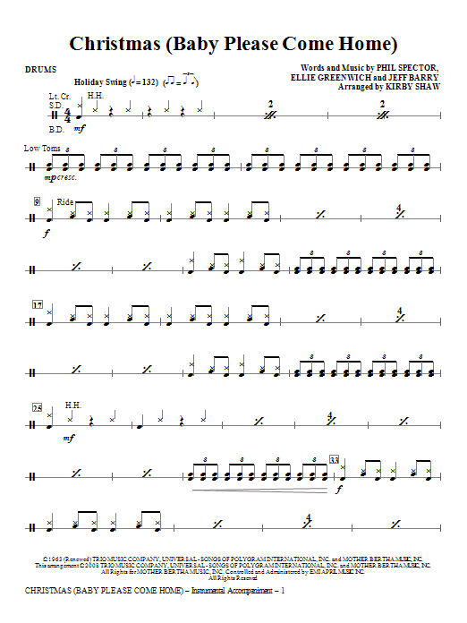 Kirby Shaw Christmas (Baby Please Come Home) - Drums sheet music notes and chords. Download Printable PDF.