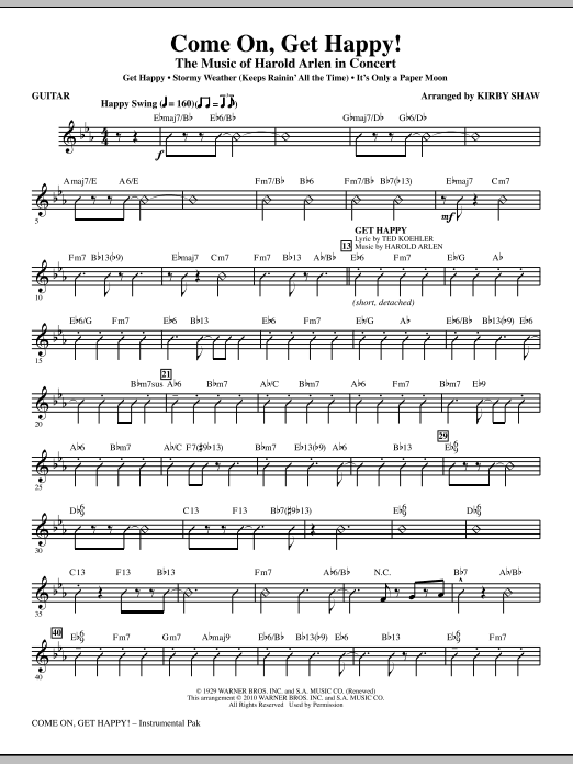 Kirby Shaw Come On, Get Happy! The Music Of Harold Arlen In Concert (Medley) - Guitar sheet music notes and chords. Download Printable PDF.