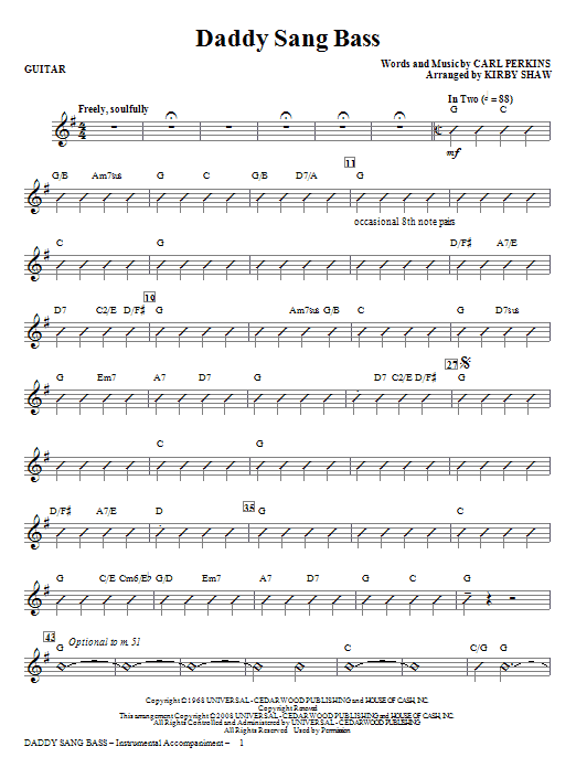 Kirby Shaw Daddy Sang Bass - Guitar sheet music notes and chords. Download Printable PDF.