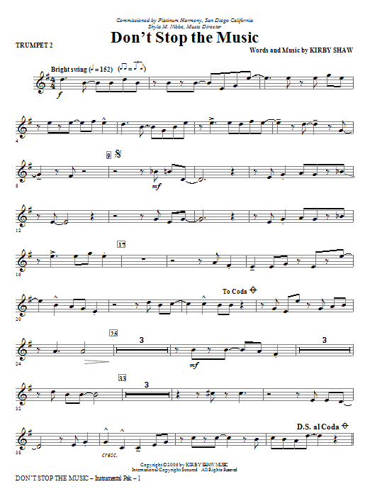 Kirby Shaw Don't Stop The Music - Bb Trumpet 2 sheet music notes and chords. Download Printable PDF.