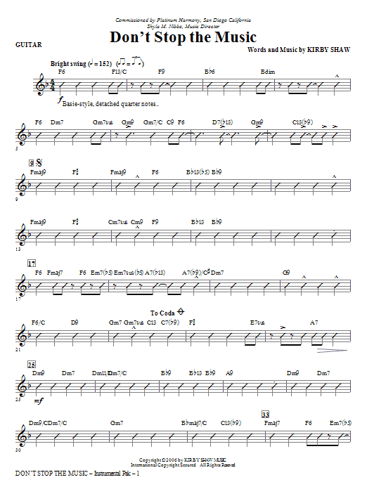 Kirby Shaw Don't Stop The Music - Guitar sheet music notes and chords. Download Printable PDF.