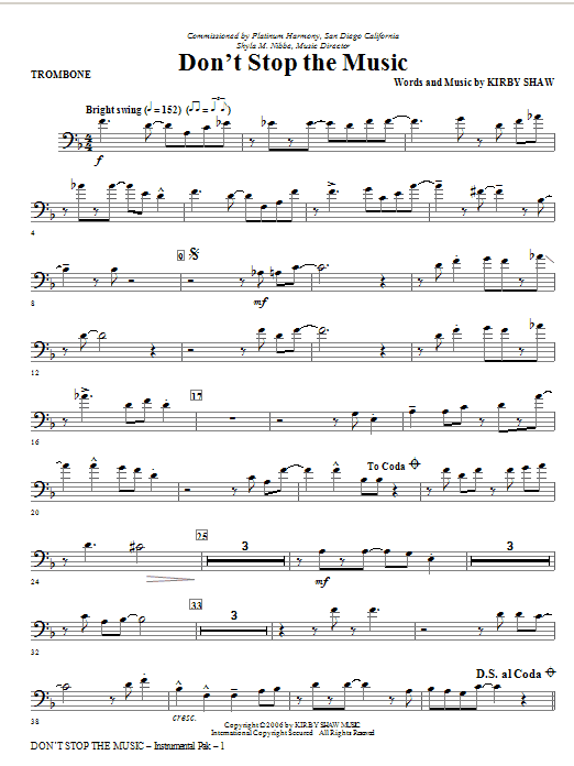 Kirby Shaw Don't Stop The Music - Trombone sheet music notes and chords. Download Printable PDF.