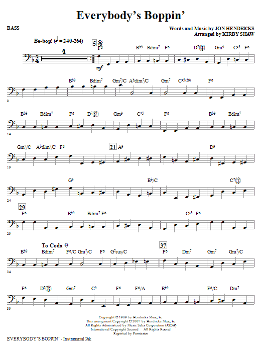 Kirby Shaw Everybody's Boppin' - Bass sheet music notes and chords. Download Printable PDF.