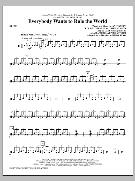 Kirby Shaw Everybody Wants to Rule the World - Drums sheet music notes and chords. Download Printable PDF.