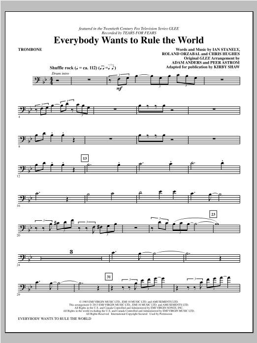Kirby Shaw Everybody Wants to Rule the World - Trombone sheet music notes and chords. Download Printable PDF.