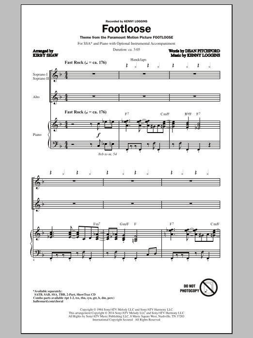 Kirby Shaw Footloose sheet music notes and chords. Download Printable PDF.
