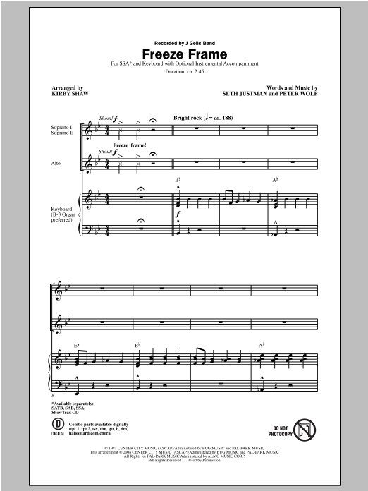 Kirby Shaw Freeze Frame sheet music notes and chords. Download Printable PDF.
