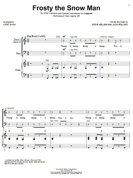 The Ronettes Frosty The Snowman (arr. Kirby Shaw) sheet music notes and chords. Download Printable PDF.