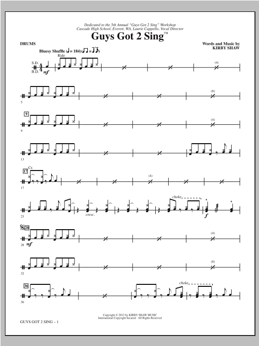 Kirby Shaw Guys Got 2 Sing - Drums sheet music notes and chords. Download Printable PDF.