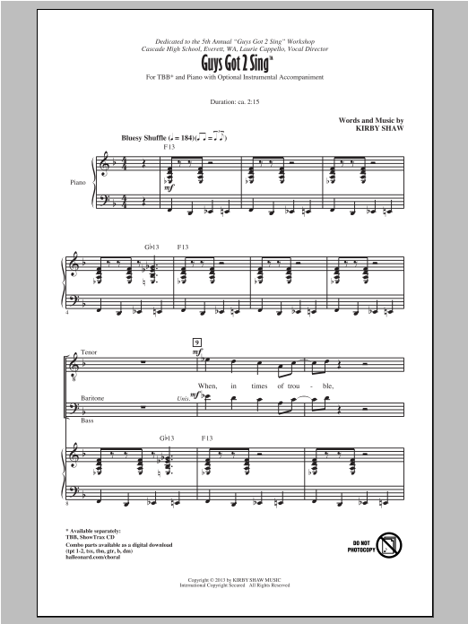 Kirby Shaw Guys Got To Sing sheet music notes and chords. Download Printable PDF.
