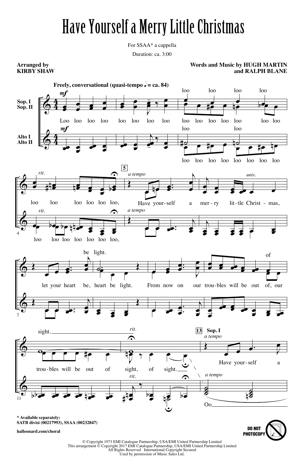 """Kirby Shaw """"Have Yourself A Merry Little Christmas"""" Sheet Music Notes, Chords 