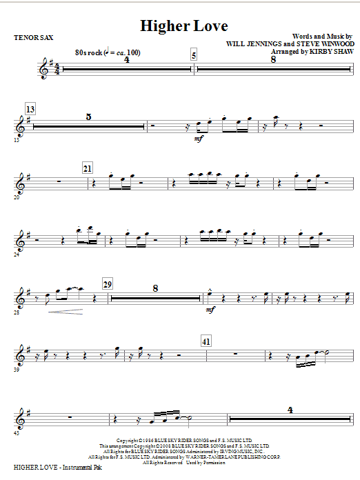 Kirby Shaw Higher Love - Tenor Sax sheet music notes and chords. Download Printable PDF.