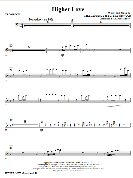 Kirby Shaw Higher Love - Trombone sheet music notes and chords. Download Printable PDF.