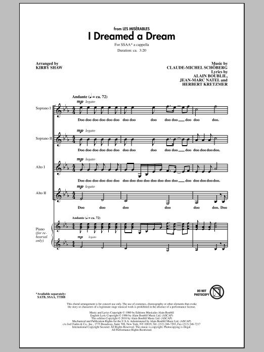 Kirby Shaw I Dreamed A Dream sheet music notes and chords