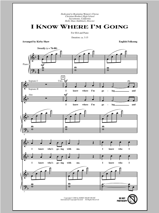 Traditional Folksong I Know Where I'm Goin' (arr. Kirby Shaw) sheet music notes and chords. Download Printable PDF.