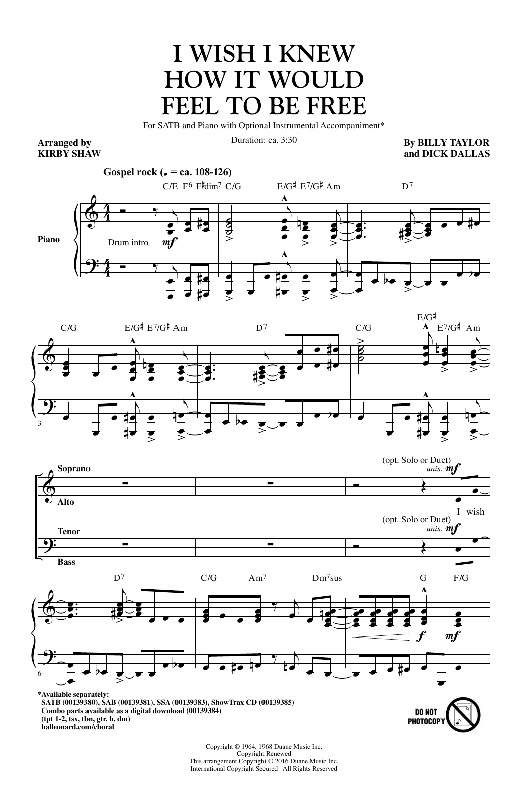 Billy Taylor I Wish I Knew How It Would Feel To Be Free (arr. Kirby Shaw) sheet music notes and chords. Download Printable PDF.