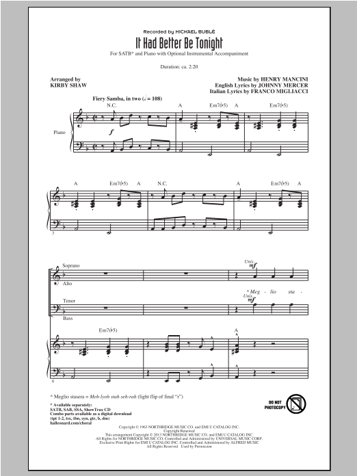 Michael Buble It Had Better Be Tonight (arr. Kirby Shaw) sheet music notes and chords. Download Printable PDF.