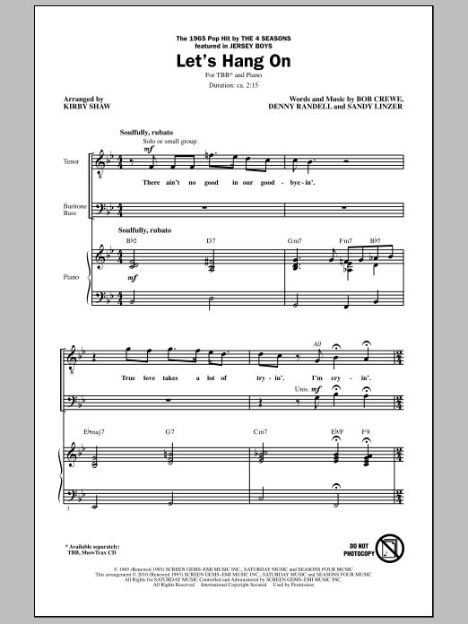 Kirby Shaw Let's Hang On sheet music notes and chords