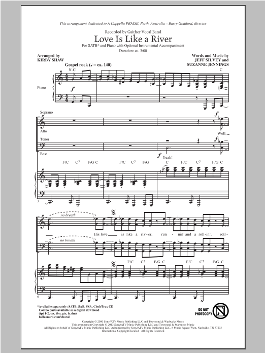 Kirby Shaw Love Is Like A River sheet music notes and chords. Download Printable PDF.