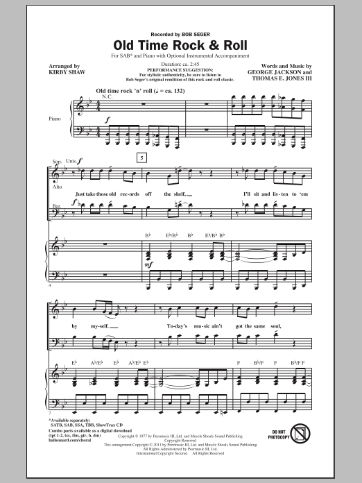 Kirby Shaw Old Time Rock & Roll sheet music notes and chords. Download Printable PDF.