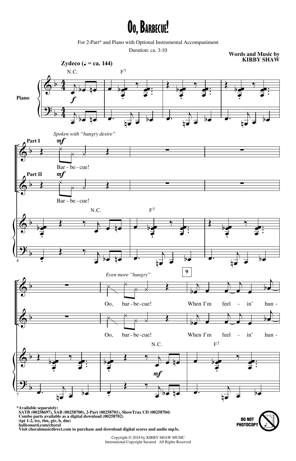 Kirby Shaw Oo, Barbecue! sheet music notes and chords. Download Printable PDF.