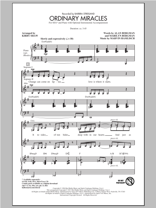 Marvin Hamlisch Ordinary Miracles (arr. Kirby Shaw) sheet music notes and chords. Download Printable PDF.