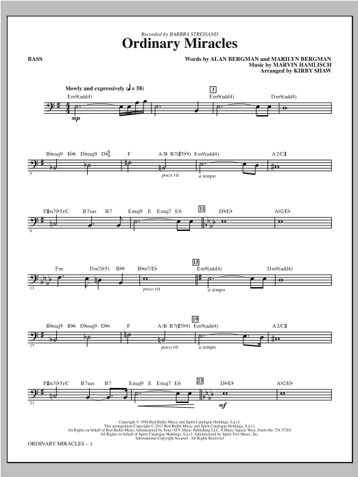 Kirby Shaw Ordinary Miracles - Bass sheet music notes and chords. Download Printable PDF.