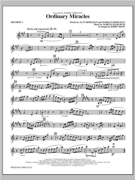 Kirby Shaw Ordinary Miracles - Bb Trumpet 1 sheet music notes and chords. Download Printable PDF.