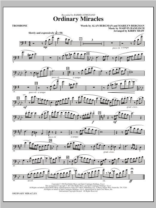 Kirby Shaw Ordinary Miracles - Trombone sheet music notes and chords. Download Printable PDF.